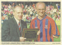 Vincent Elphick presents Steve Coppell with a plaque